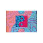 Pink Turquoise Yin Yang 5'x7'Area Rug
