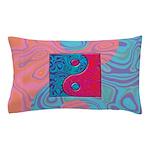 Pink Turquoise Yin Yang Pillow Case