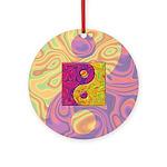Purple Yellow Yin Yang Ornament (Round)