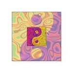 Purple Yellow Yin Yang Square Sticker 3