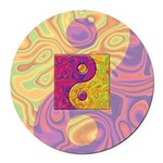 Purple Yellow Yin Yang Round Car Magnet
