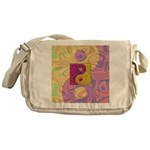 Purple Yellow Yin Yang Messenger Bag