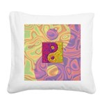 Purple Yellow Yin Yang Square Canvas Pillow