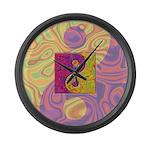 Purple Yellow Yin Yang Large Wall Clock