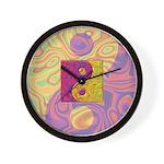 Purple Yellow Yin Yang Wall Clock