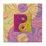 Purple Yellow Yin Yang Tile Coaster
