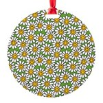 Smiley Daisy Flowers Pattern Round Ornament