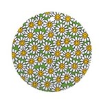 Smiley Daisy Flowers Pattern Ornament (Round)