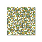 Smiley Daisy Flowers Pattern Square Sticker 3