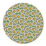 Smiley Daisy Flowers Pattern Round Car Magnet