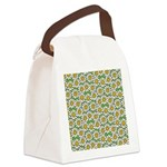 Smiley Daisy Flowers Pattern Canvas Lunch Bag