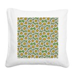Smiley Daisy Flowers Pattern Square Canvas Pillow