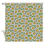Smiley Daisy Flowers Pattern Shower Curtain