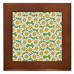 Smiley Daisy Flowers Pattern Framed Tile