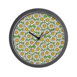 Smiley Daisy Flowers Pattern Wall Clock