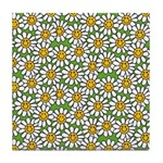 Smiley Daisy Flowers Pattern Tile Coaster