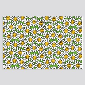 Smiley Daisy Flowers Pattern Large Poster