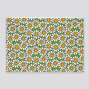 Smiley Daisy Flowers Pattern 5'x7'Area Rug