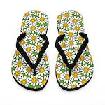 Smiley Daisy Flowers Pattern Flip Flops