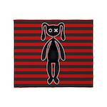Goth Red Black Bunny Throw Blanket