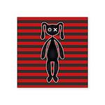 Goth Red Black Bunny Square Sticker 3