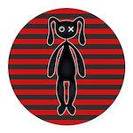 Goth Red Black Bunny Round Car Magnet