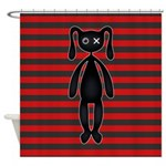 Goth Red Black Bunny Shower Curtain