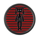 Goth Red Black Bunny Large Wall Clock