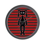 Goth Red Black Bunny Wall Clock