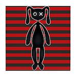 Goth Red Black Bunny Tile Coaster