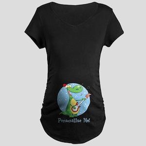 Rockin Christmas Dino Maternity Dark T-Shirt