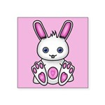 Kawaii Pink Bunny Square Sticker 3
