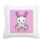 Kawaii Pink Bunny Square Canvas Pillow