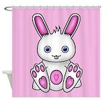 Kawaii Pink Bunny Shower Curtain