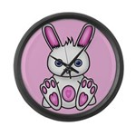 Kawaii Pink Bunny Large Wall Clock