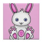 Kawaii Pink Bunny Tile Coaster