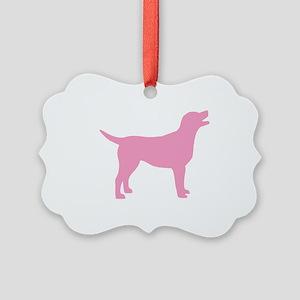 labrador pink Picture Ornament