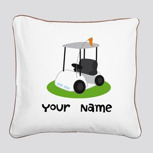 Golf Cart Gift For Golfer Square Canvas Pillow