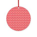 Polka Dot Heart Pattern Ornament (Round)