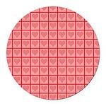 Polka Dot Heart Pattern Round Car Magnet