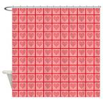 Polka Dot Heart Pattern Shower Curtain