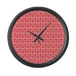 Polka Dot Heart Pattern Large Wall Clock