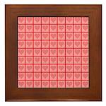 Polka Dot Heart Pattern Framed Tile