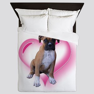 Heart Boxer Puppy Queen Duvet