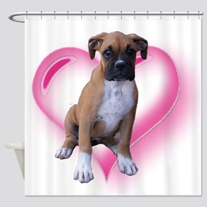 Heart Boxer Puppy Shower Curtain