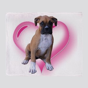 Heart Boxer Puppy Throw Blanket