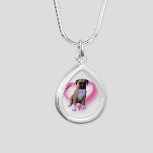 Heart Boxer Puppy Silver Teardrop Necklace