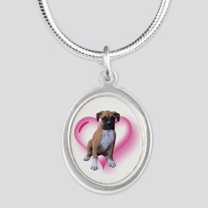 Heart Boxer Puppy Silver Oval Necklace