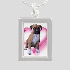 Heart Boxer Puppy Silver Portrait Necklace