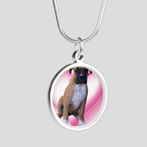 Heart Boxer Puppy Silver Round Necklace